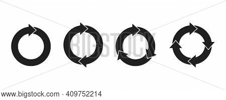 Set Of Circle Arrows . Vector Illustaration On White Background. Collection Black Arrows Of Refresh,