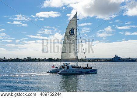 Tourist Catamaran Sailing Boat In The Mission Bay Of San Diego, California, Usa. Sailing Catamaran W