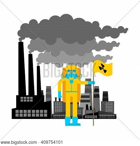 Industrial Zone. Man In Protective Suit And Radiation Flag. Radiation Contamination And Toxic Waste