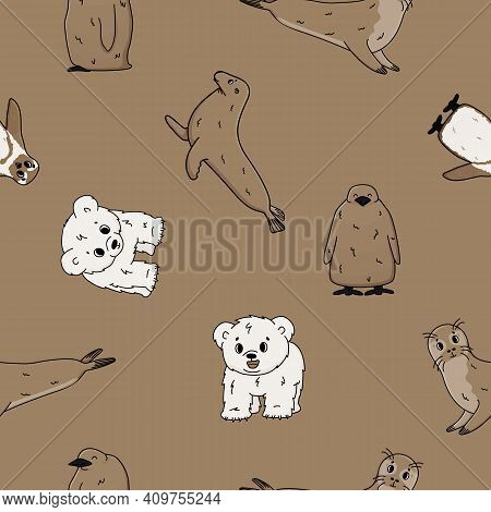 Vector Seamless Pattern Of Penguin, King Penguin Chick, Fur Seal, Polar Bear Cub, Small Common Seal.