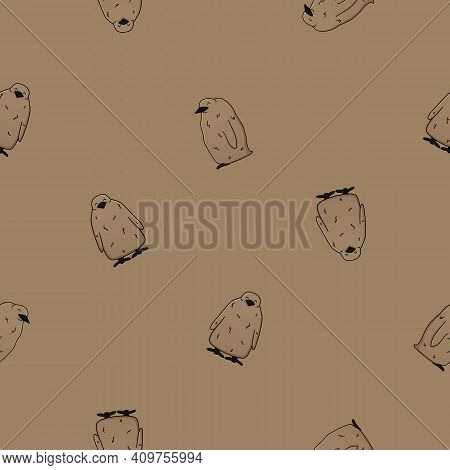 Vector Seamless Pattern Of Outline King Penguin Children Chicks. Doodle Cartoon Isolated Kid Fluffy