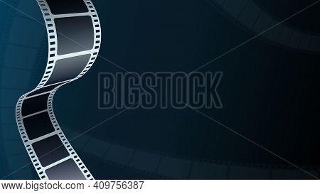 Realistic Film Strip In Perspective. 3d Isometric Film Strip. Modern Cinema Background. Design Cinem