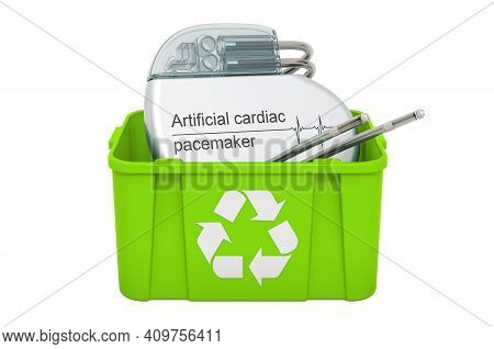 Recycling Trashcan With Artificial Cardiac Pacemaker, 3d Rendering Isolated On White Background