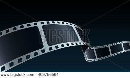 Modern Cinema Background With Film Strip. Realistic 3d Film Strip In Perspective. 3d Isometric Film