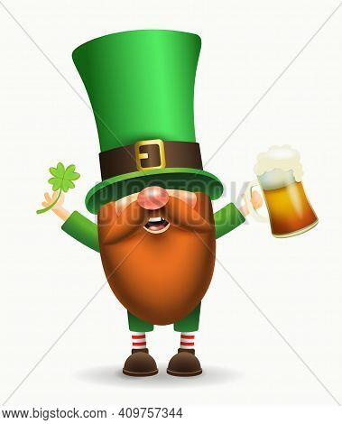 St. Patricks Day Irish Gnome With Clover And Beer. Vector Leprechaun Illustration For Banner, Decor,