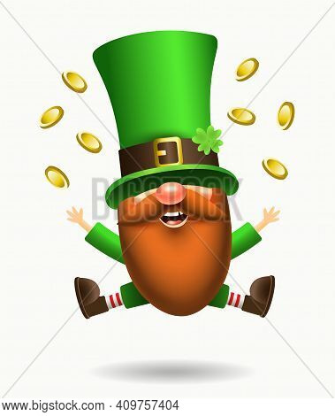 St. Patrick S Day Irish Gnome With Clover And Beer. Vector Leprechaun Illustration For Banner, Decor
