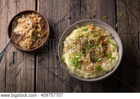 Traditional Irish Dish Colcannon, Mashed Potatoes With Cabbage And Green Onions, On Top Of Crispy Fr