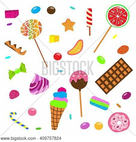 Sweets And Candies Set. Chocolate Bars, Candies And Other Sweet Food. Lollipops, Marshmallows, Sweet