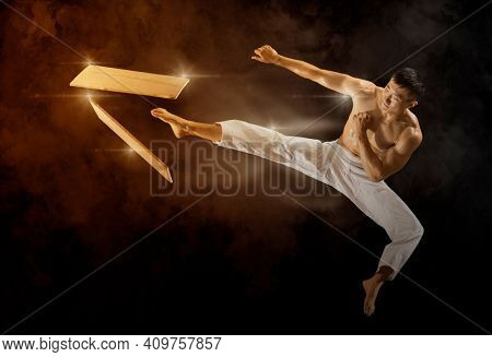 Karate masters breaking with leg wooden board