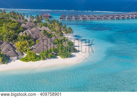 Aerial Photo Of Beautiful Maldives Paradise Tropical Beach. Amazing View, Blue Turquoise Lagoon Wate