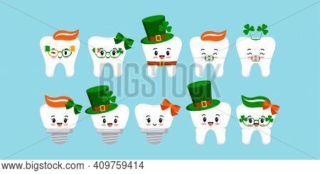 St Patrick Day Tooth Icon Set Isolated. Dentist Cute White Teeth, Crown, Implant, With Braces Charac