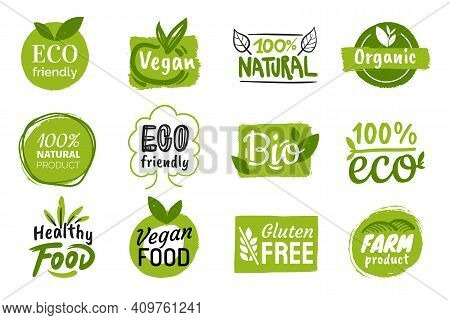 Set Of Eco Friendly Green Badges Design. Collection Of Vegan , Bio, Organic Food, Gluten Free, And N