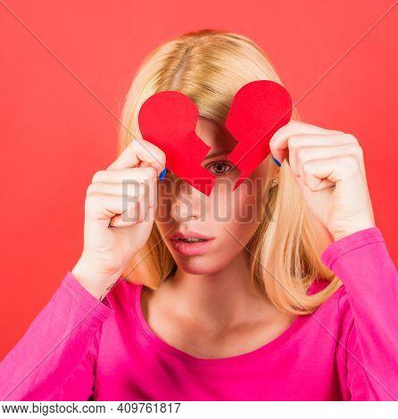 Girl With Broken Heart. Divorce And Breakup. Unhappy Love. Break Of Relationships. Rupture Of Relati