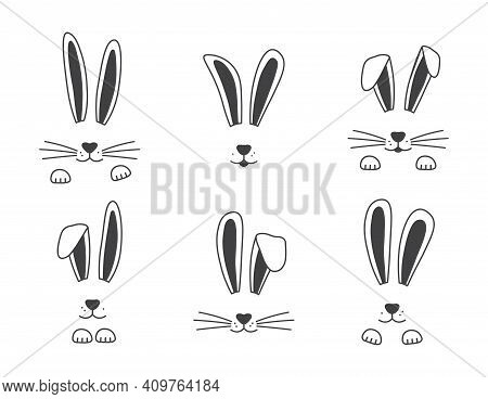 Easter Vector Bunny Hand Drawn, Face Of Rabbits. Black And White Ears And Muzzle With Whiskers, Paws