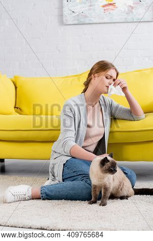 Young Woman With Napkin Feeling Allergy Reaction Near Siamese Cat On Carpet.