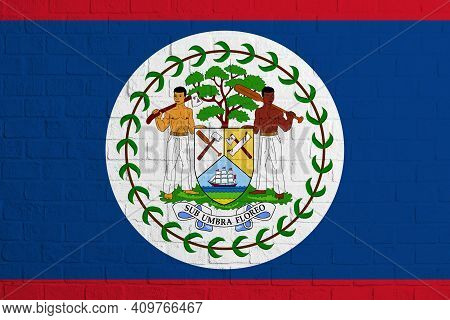 Flag Of Belize. Brick Wall Texture Of The Flag Of Belize.