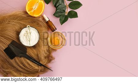 Hair Mask, Comb On A Colored Background