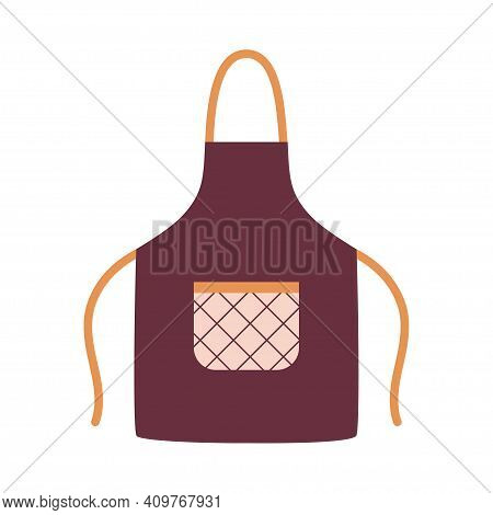 Kitchen Apron In Bright Colours With Pocket And Design Form, Colorful Protective Garment With Patter