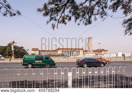Beijing, China - April 27, 2010: Great Hall Of The People Across Tiananmen Square Under Light Blue S
