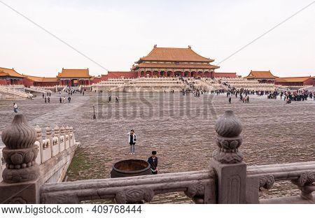 Beijing, China - April 27, 2010: Forbidden City. Landscape With Red-orange Stone Hall Of Supreme Har