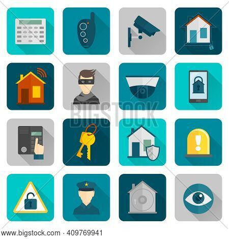 Home Security Safety And Protection Burglar Alarm System Flat Icons Set Isolated Vector Illustration