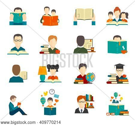 People Reading Book Encyclopedia Textbook Icon Flat Set Isolated Vector Illustration
