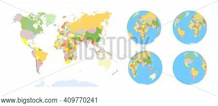 Earth Globe. World Map Set. Planet With Continents.africa Asia, Australia, Europe, North America And