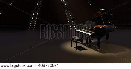 Grand Piano Illuminated By A Spotlight In A Theater With Many Seats Behind With Illuminated Stairs.