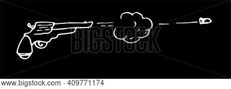 Linear Illustration Of A Revolver Being Fired With A Flying Bullet Isolated On A White Background. V