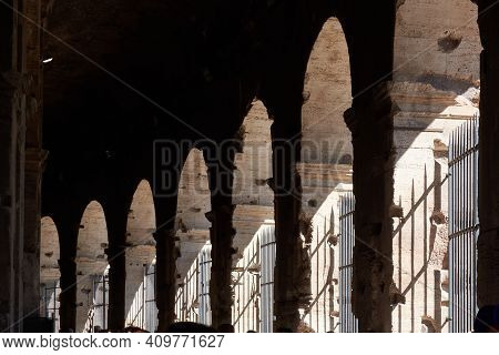 May 17, 2017 - Rome, Italy: Interior View Of The Famous Roman Colosseum, Famous Attraction In Rome.