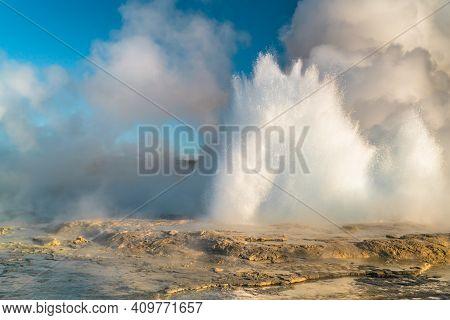 A Not So Faithful Geyser At Yellowstone Erupting