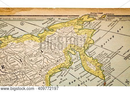 Siberia and Russia on a vintage 1920s map, selective focus