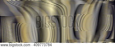 Abstract Futuristic Background With Striped Texture And Gold Glow Moire Effect. Monochrome Backgroun
