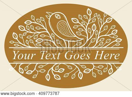 Beautiful Bird On A Branch Linear Floral Vector Design On Dark, Leaves Elegant Text Divider Border E