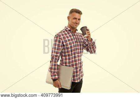 Internet Cafe. Happy Man Hold Takeaway Cup And Laptop. Coffee Shop Or Cafe. Cyber Cafe. Coffee Break