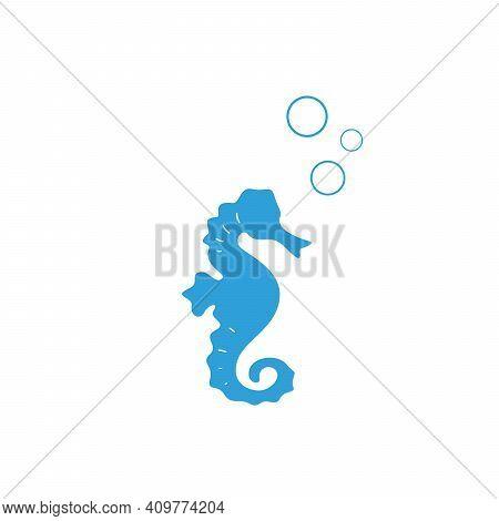 Blue Sea-horse On White Background. Marine Seahorse Simple Icon. Vector Illustration. Ocean Symbol