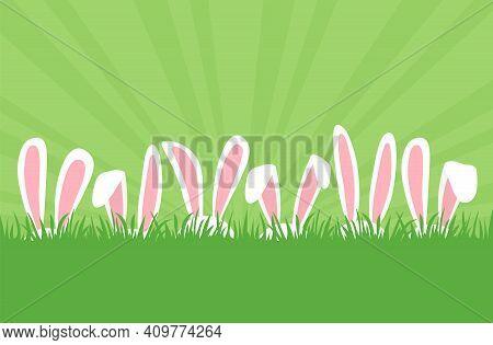 Easter Bunnies Ears In Row In Grass, Cartoon Rabbits Ears Border. Easter Eggs Hunt. Cute Holiday Bac