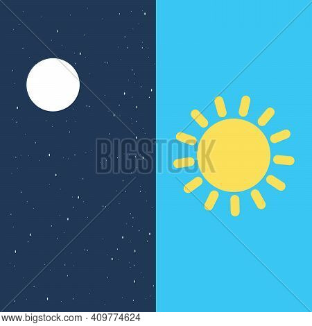Vector Illustration Of Day And Night. Day Night Concept, Sun And Moon, Day Night Icon Flat Style