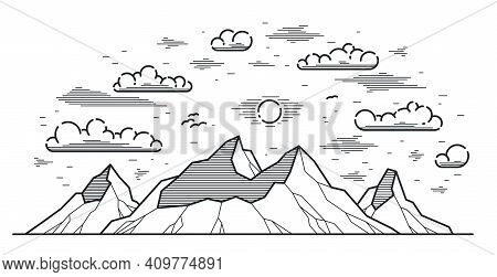 Mountains Range Linear Vector Illustration Isolated On White, Line Art Drawing Of Mountain Peaks Wil