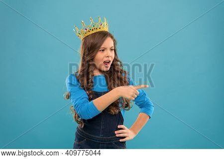 Hey You. Kid Wear Golden Crown Symbol Of Princess. Girl Cute Outraged Expression Baby Wear Crown Blu