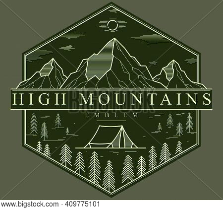 Camping Tent In Pine Forest Vector Linear Emblem On Dark, Holidays And Vacations In Woods Theme Line