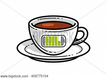 Cup Of Coffee With Battery Accumulator Sign Vector Illustration Or Icon Isolated On White, Charge Yo