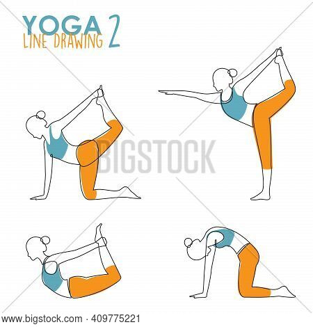 Continuous Line Drawing Of Woman Yoga Pose Or Asana Posture. Female Exercising For Body Stretching.