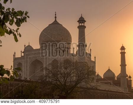 Close Up Of A Silhouetted Taj Mahal At Sunset In Agra