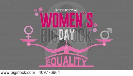 Greeting Card Of International Women S Day. Text In Red Color On Pink Scale With Equality Word At Th