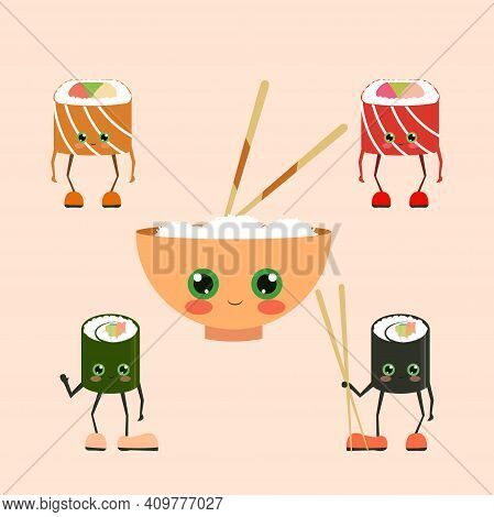Funny Sushi Characters. Funny Sushi With Cute Faces. Sushi Roll And Sashimi Set. Happy Sushi Charact
