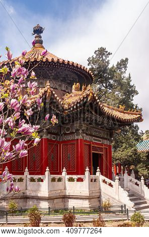 Beijing, China - April 27, 2010: Forbidden City. Pink Flowers In Front Of Circular Romantic Red-roof