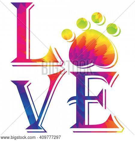 Love Paw Print with Tie Dye Colors Illustratin Isolated on White with Clipping Path