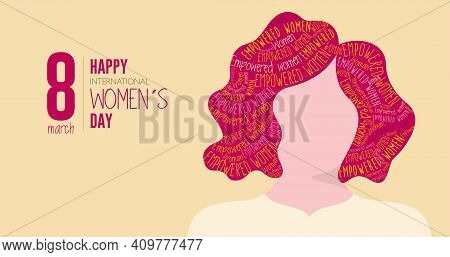 Greeting Card Of Happy International Women S Day. Silhouette Of Woman With Red Hair Filled With The
