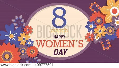 Greeting Card Of Happy Women S Day. Text Inside A Yellow Oval Surrounded By Red, Blue And Yellow Flo